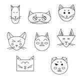 Ensemble de museau de chat linéaire Photos stock