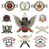 Ensemble de Muttahida Majlis-e-Amal, de boxe, d'emblèmes de combat de rue et d'éléments de conception Photo stock