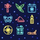 Ensemble de néon d'icônes brillantes de Noël dans la ligne style Photos stock