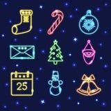 Ensemble de néon d'icônes brillantes de Noël dans la ligne style Images stock