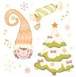 Ensemble de nain de Noël dans la cloche, arbre de Noël, cadeaux Photos libres de droits