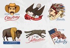 Ensemble de natif américain vieux, labels ou insignes pour camper, hausse, chassant buffle et drapeau, aigle et cowboy, loup avec illustration libre de droits