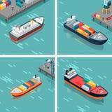 Ensemble de navire porte-conteneurs de cargaison ou déchargeant des marchandises Photo stock