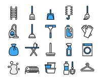 Ensemble de nettoyage d'icône d'équipement Ligne style mince de vecteur illustration libre de droits