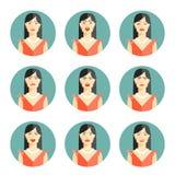 Ensemble de neuf émotions différentes de femmes Image stock