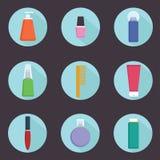 Ensemble de neuf icônes cosmétiques de produits de style plat - dirigez l'illustration Photos stock