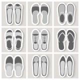 Ensemble de neuf icônes de chaussures de femme Image stock