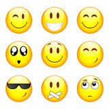 Ensemble de neuf smiley Images libres de droits