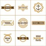 Ensemble de neuf timbres de marine de vintage illustration libre de droits