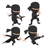 Ensemble de Ninja Cute Character Cartoon Photo stock