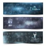 Ensemble de Noël abstrait coloré, bannières de nouvelle année Photo stock