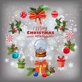 Ensemble de Noël de carte de voeux avec des branches de pin, décorations, sucreries, rubans, globe de neige, boîtes de cadeaux, N illustration de vecteur