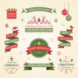 Ensemble de Noël d'insignes, de labels et d'autres éléments décoratifs Photos libres de droits