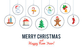 Ensemble de Noël de bannière d'icônes Images stock