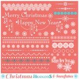 Ensemble de Noël de frontières avec des flocons de neige Photo stock