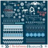 Ensemble de Noël de frontières avec des flocons de neige Image stock