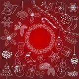 Ensemble de Noël de griffonnage Images libres de droits