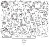 Ensemble de Noël de griffonnages tirés par la main dans le style graphique simple Illustration noire et blanche de vecteur avec d Photo libre de droits