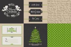 Ensemble de Noël de vintage et de cartes et de printables de nouvelle année Photo stock