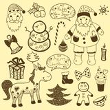 Ensemble de Noël de vintage, vieux papier Photographie stock libre de droits