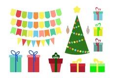 Ensemble de Noël et de nouvelle année, boîte-cadeau, étiquettes, drapeaux, dans le style plat illustration de vecteur