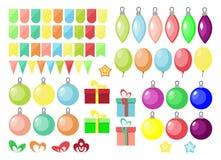 Ensemble de Noël et de nouvelle année, boîte-cadeau, boule, ballon, étiquettes, drapeaux, dans le style plat illustration libre de droits