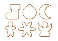 Ensemble de Noël et de pain d'épice de nouvelle année avec le lustre, biscuits sur le fond blanc illustration stock
