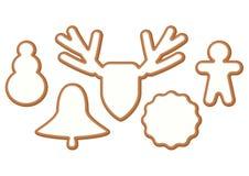 Ensemble de Noël et de pain d'épice de nouvelle année avec le lustre, biscuits sur le fond blanc illustration libre de droits