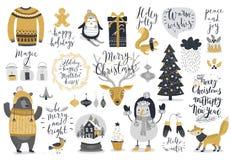 Ensemble de Noël, style tiré par la main - calligraphie, animaux et d'autres éléments Image stock