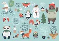 Ensemble de Noël, style tiré par la main - calligraphie, animaux et d'autres éléments Images libres de droits