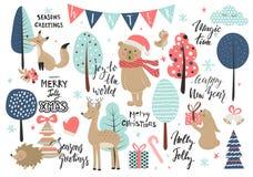 Ensemble de Noël, style tiré par la main - calligraphie, animaux et d'autres éléments Illustration de vecteur Images stock