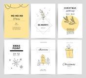 Ensemble de Noël de vecteur, designs de carte de félicitation de nouvelle année Photo stock