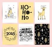 Ensemble de Noël de vecteur, designs de carte de félicitation de nouvelle année Photo libre de droits