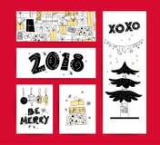 Ensemble de Noël de vecteur, designs de carte de félicitation de nouvelle année Illustration scandinave de style Photographie stock libre de droits