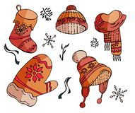 Ensemble de Noël de vecteur de symboles d'hiver illustration de vecteur