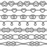 Ensemble de noeuds de corde Éléments sans couture décoratifs Image libre de droits