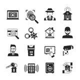 Ensemble de noir d'icônes de sécurité Images libres de droits