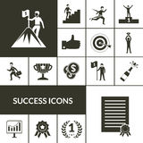 Ensemble de noir d'icônes de succès Image stock