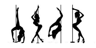 Ensemble de noir exotique de danse de poteau de silhouette sur le blanc illustration libre de droits