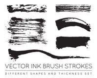 Ensemble de noir Pen Ink Brush Strokes de vecteur Brosse grunge Stro d'encre Photos stock