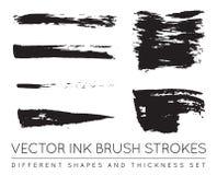 Ensemble de noir Pen Ink Brush Strokes de vecteur Brosse grunge Stro d'encre Photo libre de droits