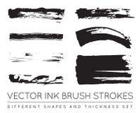 Ensemble de noir Pen Ink Brush Strokes de vecteur Brosse grunge Stro d'encre Image stock