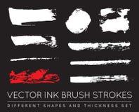 Ensemble de noir Pen Ink Brush Strokes de vecteur Brosse grunge Stro d'encre Image libre de droits