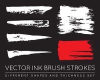 Ensemble de noir Pen Ink Brush Strokes de vecteur Brosse grunge Stro d'encre Photo stock