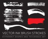 Ensemble de noir Pen Ink Brush Strokes de vecteur Brosse grunge Stro d'encre Photographie stock