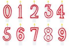 Ensemble de nombre de bougies d'anniversaire d'isolement Photo stock