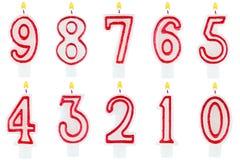 Ensemble de nombre de bougies d'anniversaire d'isolement Image stock