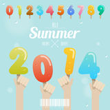 Ensemble de nombre de crème glacée avec la main sur le concept 2014 d'été Image libre de droits