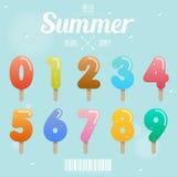 Ensemble de nombre de crème glacée sur le concept d'été Photo libre de droits