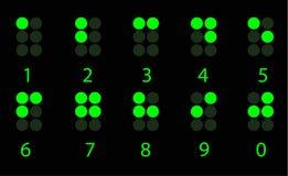 Ensemble de nombre vert digital de braille Photos stock